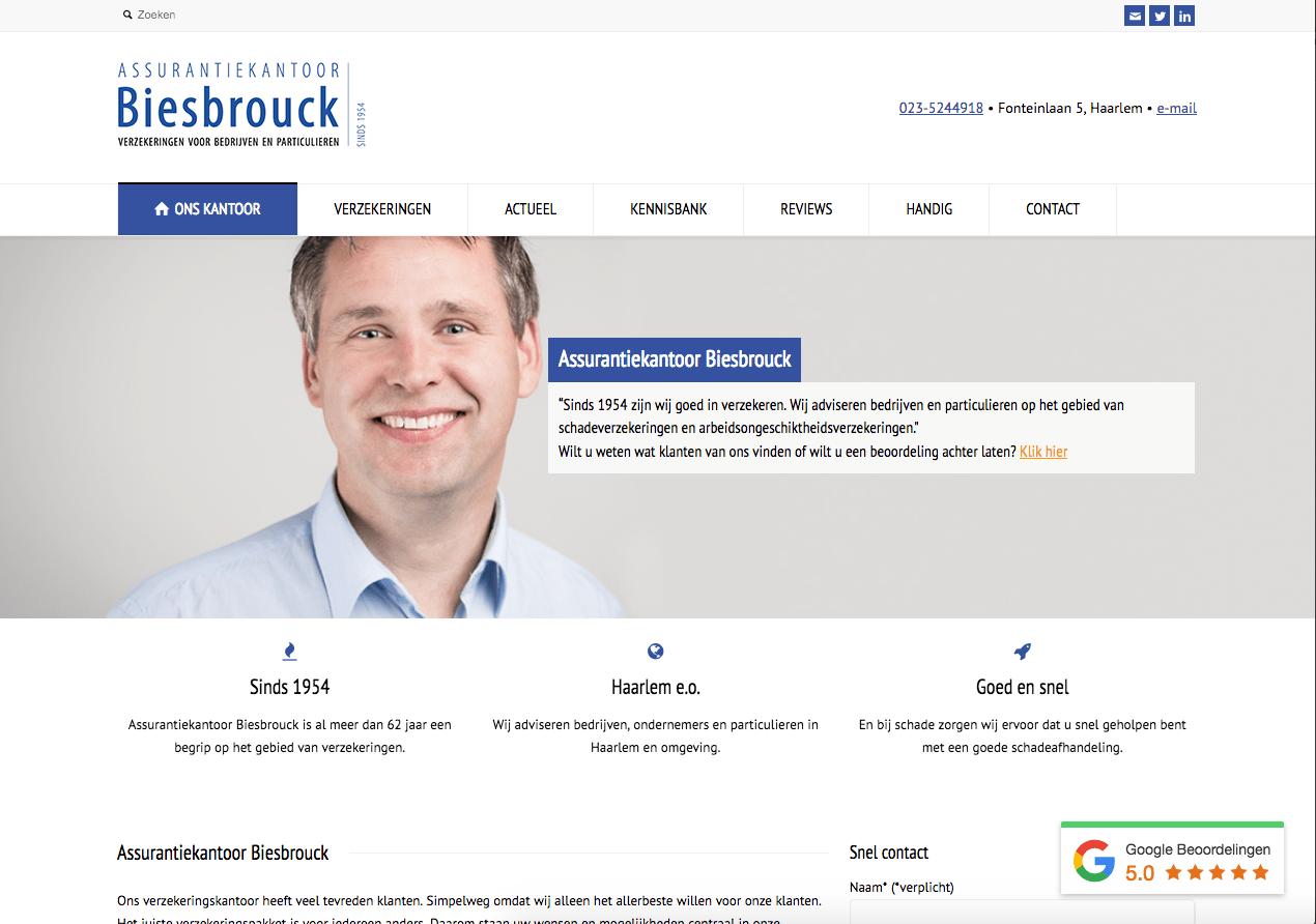 Website Assurantiekantoor Biesbrouck